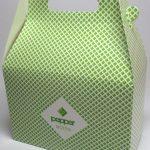 bedrukte doos met handvat in groen
