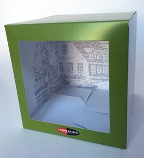 bedrukte doos kubusdoos met venster 125 mm