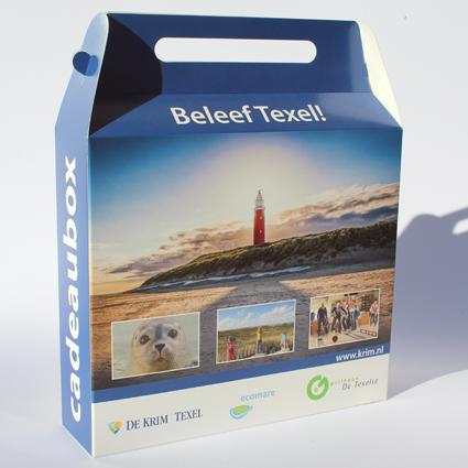 Doosje met autolock en handvat 230x60x200 mm bedrukt doos Texel