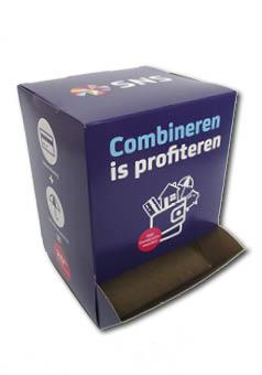Dispenser doos op maat gemaakt en bedrukt 125x115x170 mm