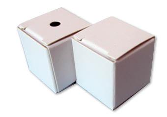Kubus doosje met 2 klepjes en boorgat 25x25x25 mm