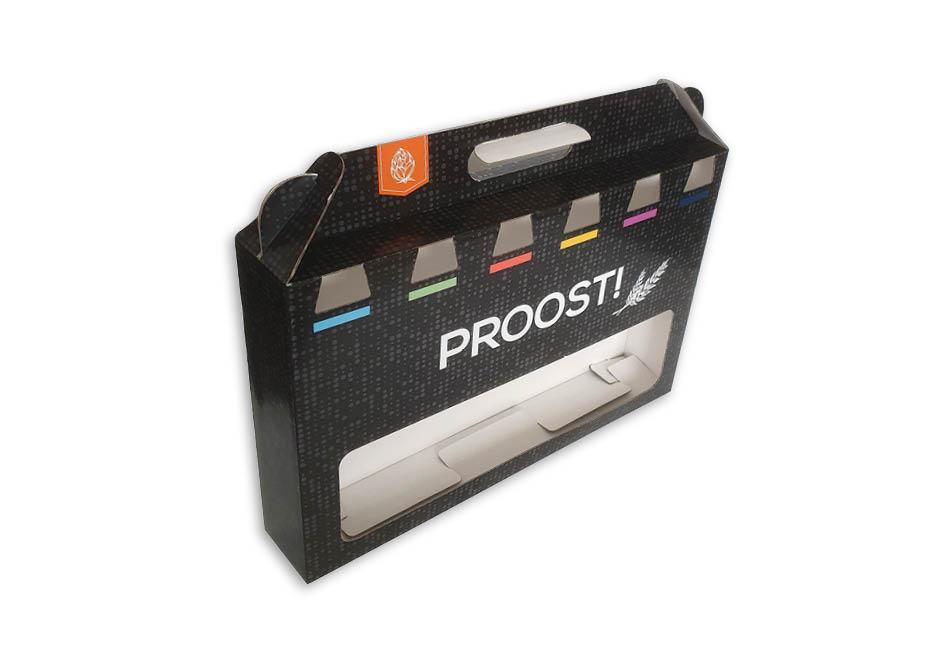 doos met handvat bedrukt voor 6 flesjes bier longneck 33 cl full color opdruk golfkarton