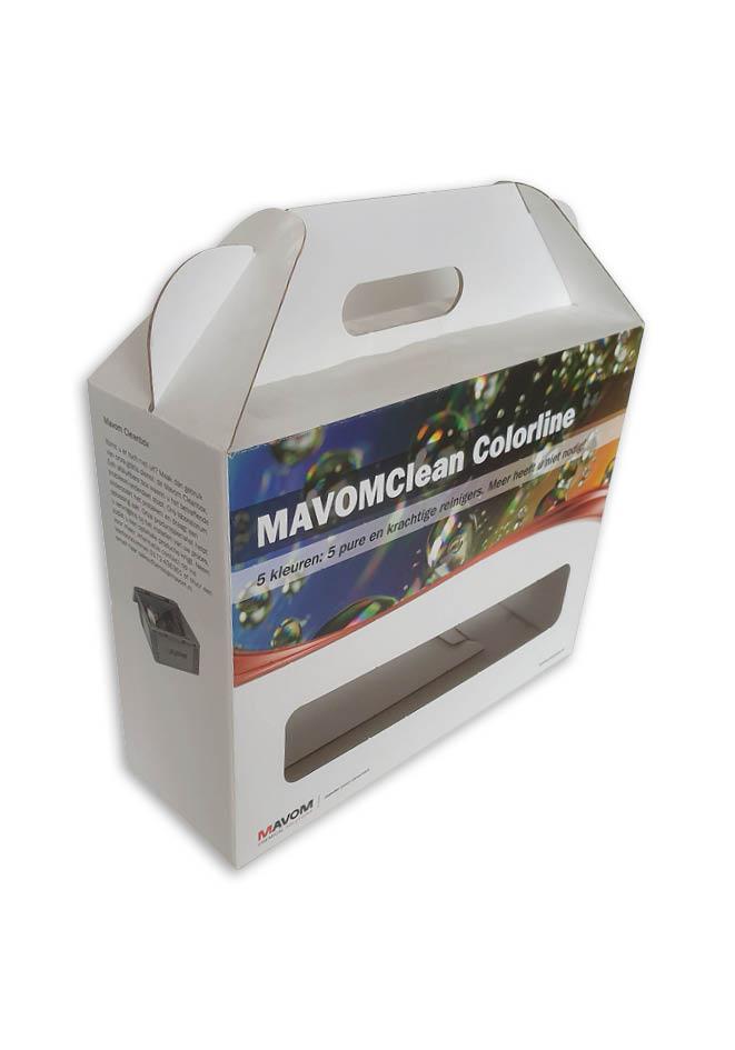 doos met handvat voor 5 spuit flacons flessen bedrukt in full color golfkarton fefco 0217