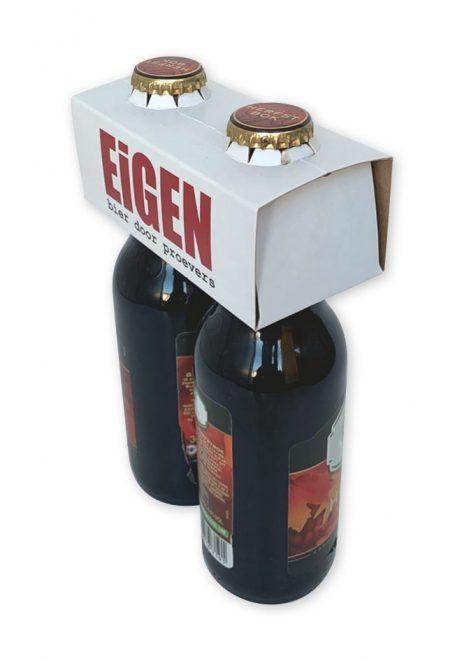 bedrukte houder Draagclip voor 2 flesjes bier longneck