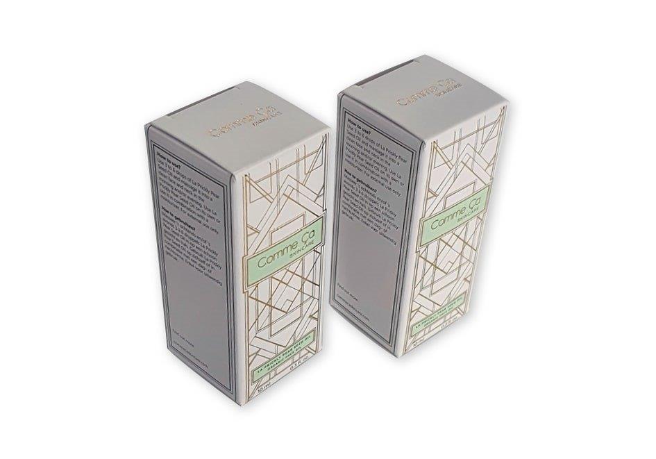 Doosje voor cosmetica met goud folie bedrukt met 2 klepjes 30x30x71 mm